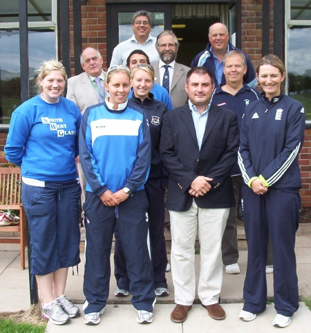 Jack Lopresti and Charlotte Edwards MBE at Frenchay Cricket Club