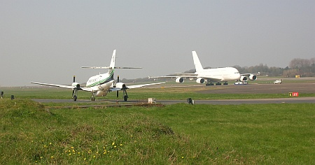 First landing of the Airbus A380 at Filton Airfield, Bristol.