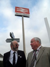 Cllr Robert Griffin and Cllr Brian Allinson at Severn Beach Station