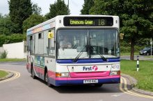 Number 18 bus service pictured in Little Stoke, Bristol.