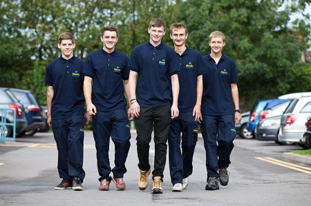 Apprentice plumbers, plasterers and electricians.