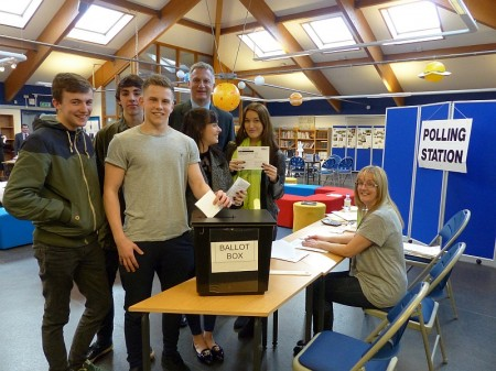 Young voters: Sixth form students from Downend School.