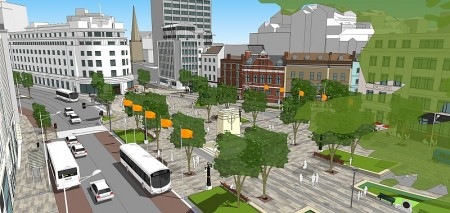 Artist's impression of the NFHP MetroBus in Bristol city centre.