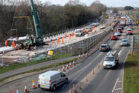 Aerial view of repair work being carried out at the Bromley Heath Viaduct.