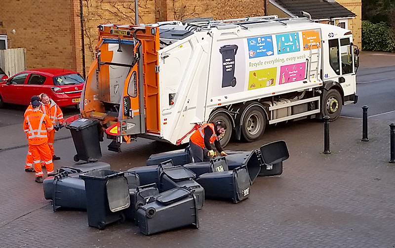 Black refuse bins are exchanged for smaller ones in Bradley Stoke.