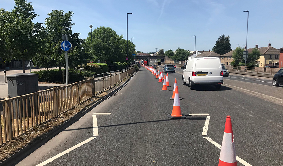 Photo showing road space temporarily cordoned off on the A4174 in Filton.
