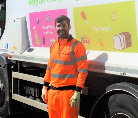 Photo of Cllr Toby Savage, leader of South Gloucestershire Council, out with recycling collection crews.