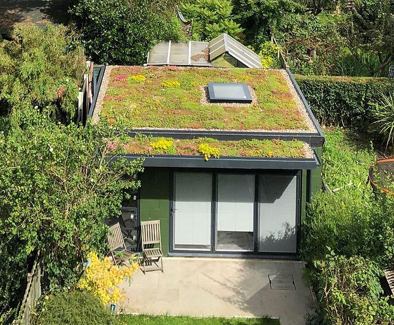 Aerial photo of a garden studio.